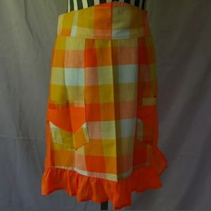 Half Apron Vintage Orange Check 2 Pockets